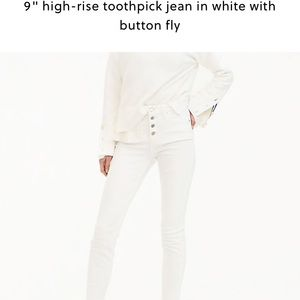 "J. Crew 9"" high rise button front toothpick jeans"